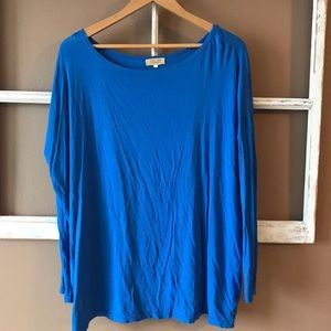 Blue Long Sleeve Piko Top